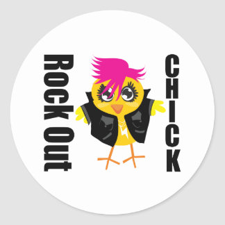 Rock Out Chick Classic Round Sticker