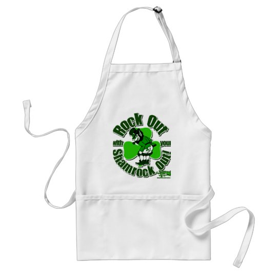 Rock Out With Your Shamrock Out! Adult Apron