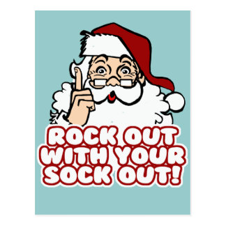 Rock Out With Your Sock Out Santa Postcards