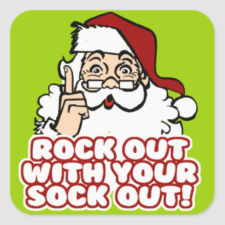 Rock Out With Your Sock Out Santa Square Sticker