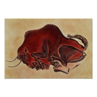 Rock painting of a bison, late Magdalenian Poster