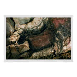Rock painting of a black bull, c.17000 BC (cave pa Poster