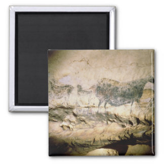 Rock painting of a black cow, c.17000 BC 2 Inch Square Magnet