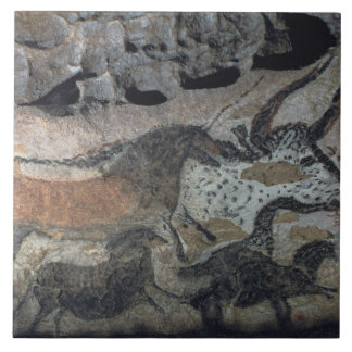 Rock painting of a bull and horses, c.17000 BC (ca Ceramic Tile