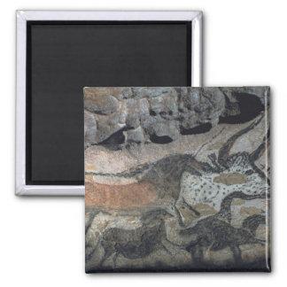 Rock painting of a bull and horses c 17000 BC ca Fridge Magnet