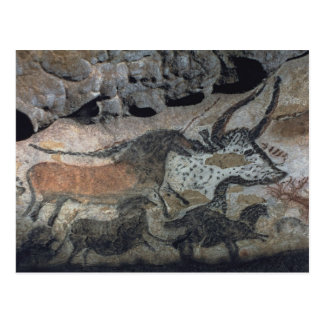 Rock painting of a bull and horses, c.17000 BC (ca Postcard