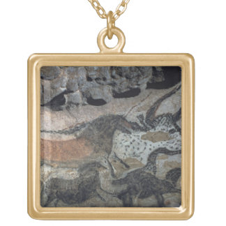 Rock painting of a bull and horses, c.17000 BC (ca Square Pendant Necklace