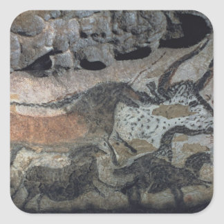 Rock painting of a bull and horses, c.17000 BC (ca Square Sticker