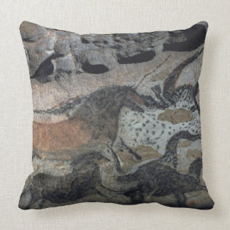 Rock painting of a bull and horses, c.17000 BC (ca Throw Pillow