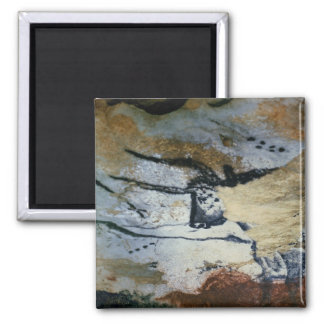 Rock painting of a bull with long horns 2 inch square magnet