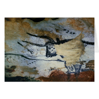 Rock painting of a bull with long horns card