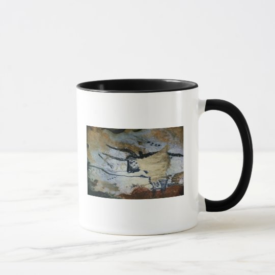 Rock painting of a bull with long horns mug