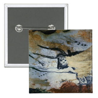 Rock painting of a bull with long horns pinback button