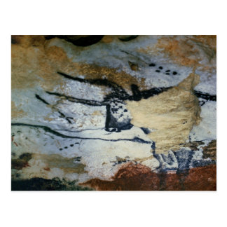 Rock painting of a bull with long horns postcard