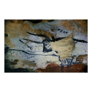 Rock painting of a bull with long horns poster
