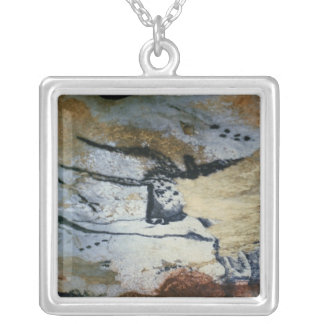 Rock painting of a bull with long horns square pendant necklace