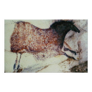 Rock painting of a galloping horse, c.17000 BC Poster