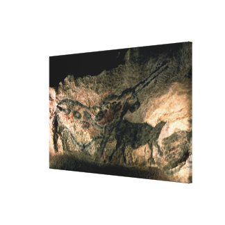 Rock painting of a horned animal, c.17000 BC (cave Canvas Print