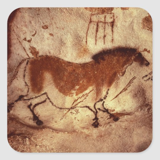 Rock painting of a horse, c.17000 BC Square Sticker