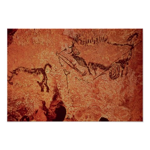 Rock painting of a hunting scene, c.17000 BC Posters