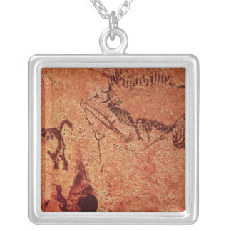 Rock painting of a hunting scene, c.17000 BC Square Pendant Necklace