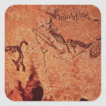 Rock painting of a hunting scene, c.17000 BC Square Sticker
