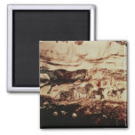 Rock painting of a leaping cow 2 inch square magnet