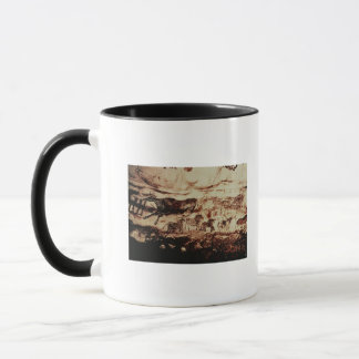 Rock painting of a leaping cow mug