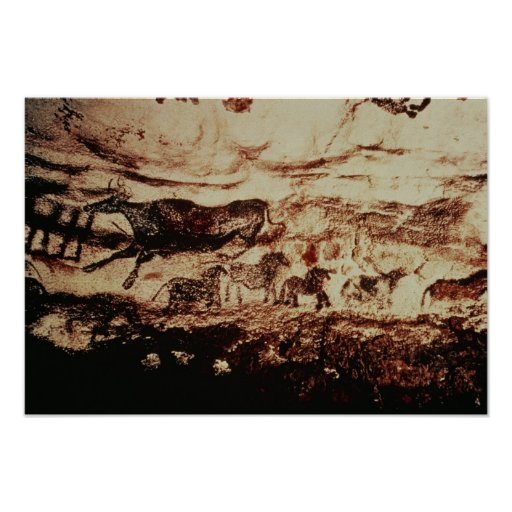 Rock painting of a leaping cow posters