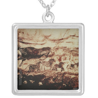 Rock painting of a leaping cow square pendant necklace