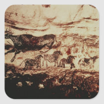 Rock painting of a leaping cow square sticker