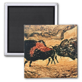 Rock painting of bison, c.17000 BC 2 Inch Square Magnet