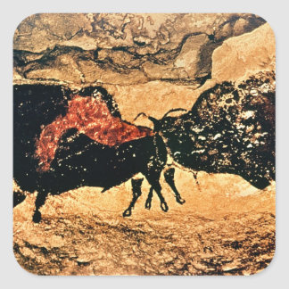 Rock painting of bison, c.17000 BC Square Sticker