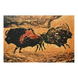 Rock painting of bison, c.17000 BC Wood Print