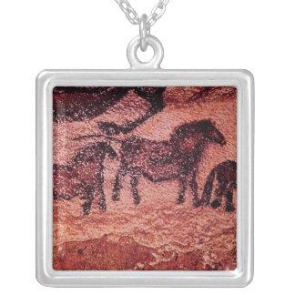 Rock painting of tarpans , c.17000 BC Square Pendant Necklace