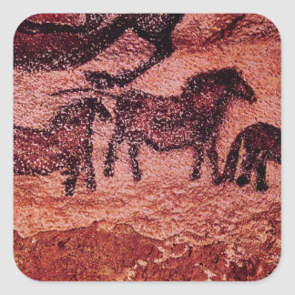Rock painting of tarpans , c.17000 BC Square Sticker