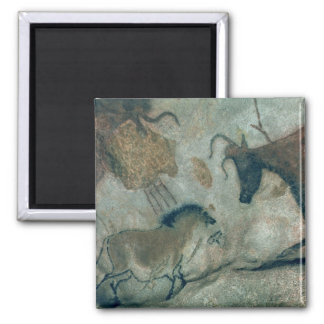 Rock painting showing a horse and a cow, c.17000 B 2 Inch Square Magnet