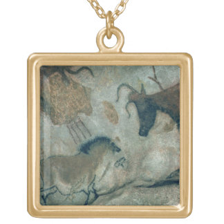 Rock painting showing a horse and a cow, c.17000 B Square Pendant Necklace
