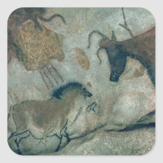 Rock painting showing a horse and a cow, c.17000 B Square Sticker