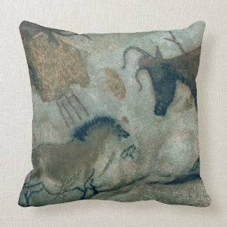 Rock painting showing a horse and a cow, c.17000 B Throw Pillow