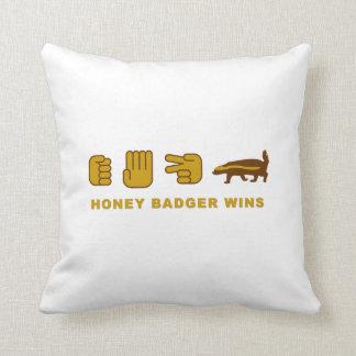 rock paper scissor honey badger wins throw pillow
