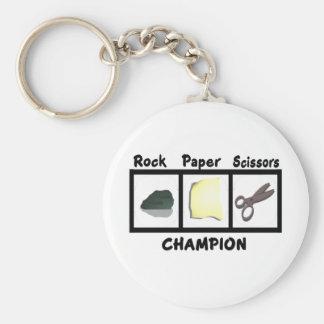 Rock Paper Scissors Champion Basic Round Button Keychain