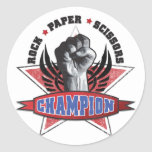 Rock, Paper, Scissors Champion Classic Round Sticker