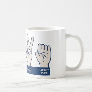 Rock, Paper, Scissors, Cherry Bomb Coffee Mug