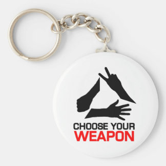 Rock, Paper, Scissors, Choose Your weapon Keychain