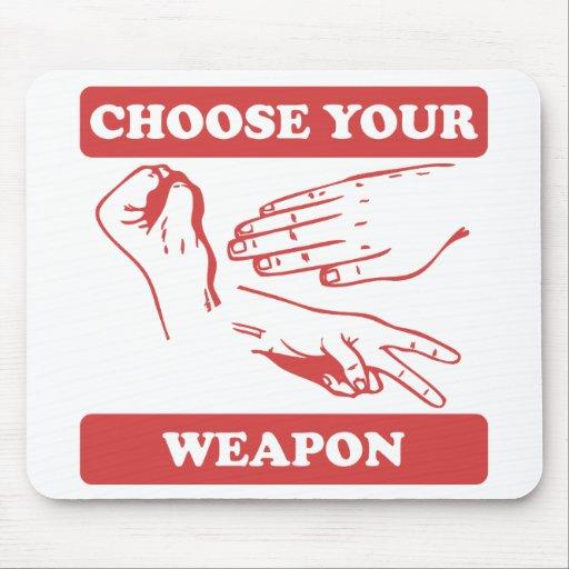 Rock Paper Scissors Choose Your Weapon Mousepads