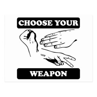 Rock Paper Scissors Choose Your Weapon Post Cards