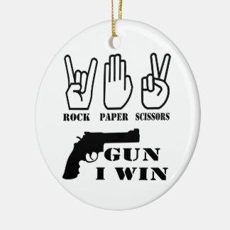 Rock Paper Scissors Gun I Win Ceramic Ornament