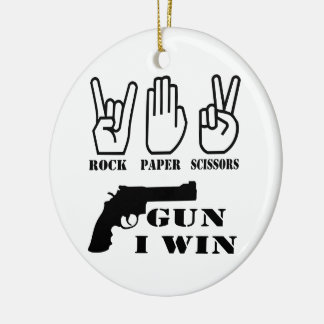 Rock Paper Scissors Gun I Win Double-Sided Ceramic Round Christmas Ornament