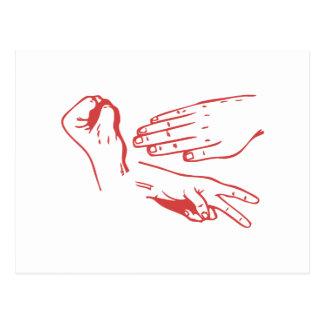 Rock Paper Scissors Hands Postcard